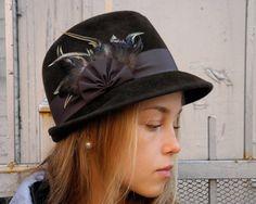 Brown Felt Fedora Hat- Womens Hat- Fall Fashion- Winter Accessories
