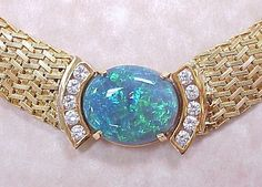 Impressive 22 CT Black Opal & 2 CT Diamond Necklace 18k Gold