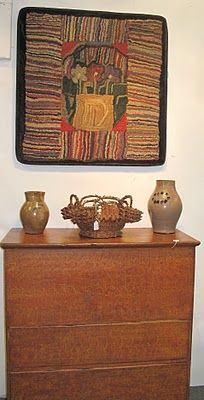 """Flowers in Basket, Hit or Miss hooked rug; nicely set off by a """"minimal display, antique blanket chest & pottery"""" Vintage Hooks, Vintage Rugs, Rug Hooking Patterns, String Quilts, Hand Hooked Rugs, Antique Show, Penny Rugs, Wool Applique, Fiber Art"""