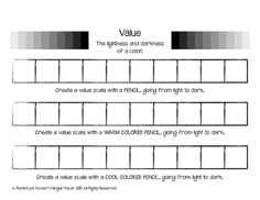 Value Scale Painting Worksheets 2 Variations, Great for