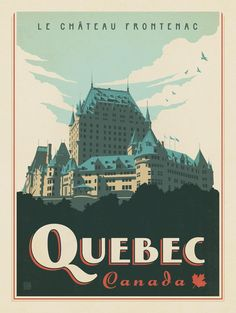 Canada: Quebec - Our latest series of classic travel poster art is called the World Travel Poster Collection. We were inspired by vintage travel prints from the Golden Age of Poster Design (a glorious period spanning the to the Party Vintage, Vintage Style, Posters Canada, Voyage Canada, Wall Art Prints, Canvas Prints, Canvas Art, Quebec City, Vintage Travel Posters
