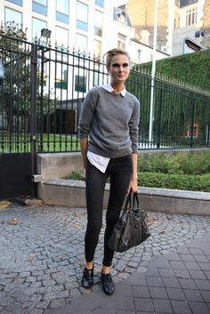 White shirt layered under grey merino knit and black jeggings (that's right) with gibson style 'boyfriend shoes'.  Everything else is boyfriend, why not shoes?  Well, maybe.