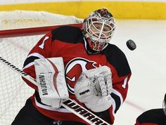 New Jersey Devils goalie Keith Kinkaid (1) blocks a shot on goal during the third period of an NHL hockey game against the Los Angeles Kings Sunday, Feb. 14, 2016, in Newark N.J. Kinkaid had his first career shutout in the Devils 1-0 win. (AP Photo/Mel Evans)