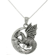 Carolina Glamour Collection Sterling Silver Moon and Dragon Necklace... ($32) ❤ liked on Polyvore featuring jewelry, necklaces, sterling silver necklace, long sterling silver necklace, polish jewelry, long pendant necklace and box chain necklace