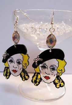 Bette Davis Whatever Happened to Baby Jane diamante detailed earrings. Classic Cult movies. Gay icons. Vintage Kitsch by littleMclothing on Etsy