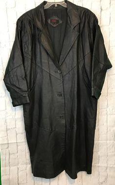 7b4bfba8388 General Clothing Company LTD Women s Long Black Leather Lined Coat Size 1X