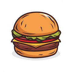 Kitchen Stickers, Food Stickers, Diy Stickers, Printable Stickers, Preppy Stickers, Cute Laptop Stickers, Burger Drawing, Burger Vector, Tumblr Stickers
