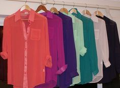 sheer colored button down tops <3 go with all #bullheadjeans!