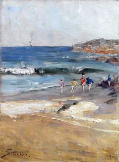Arthur Streeton - Beach scene, Courtesy: Art Gallery of NSW Australian Painting, Australian Artists, Melbourne, Seascape Art, Landscape Paintings, Landscapes, Beach Paintings, Oil Paintings, Beach Scenes