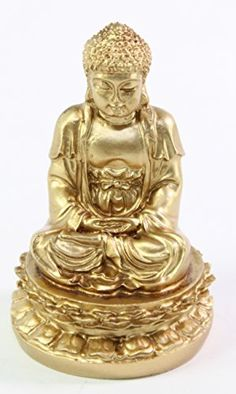 Feng Shui 2 Gold Meditating Buddha Figurines Peace Luck Prosperity Statues Paperweights Gift Home Decor Housewarming Gift US Seller We Pay Your Sales Tax * You can find more details by visiting the image link.