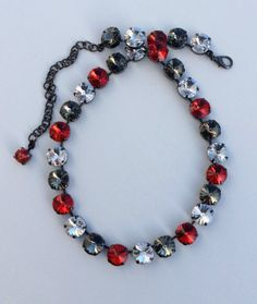Swarovski 12mm  - Sabika Inspired  -  Black Diamond, Radiant Crystal Clear, & Light Siam Red Accents
