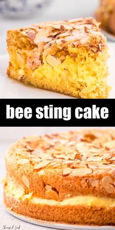 Bee Sting Cake (Bienenstich) is a super light and airy German dessert cake with a delicious vanilla pudding filling and a crunchy a sweet almond topping. German Desserts, Köstliche Desserts, Best Dessert Recipes, Cheesecake Recipes, Cupcake Recipes, Baking Recipes, Sweet Recipes, Delicious Desserts, Pudding Desserts