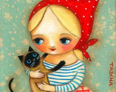 Siamese CAT and BABUSHKA blonde girl folk art PRINT of painting by tascha