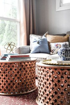 Family Room by blogger Home with Keki featuring World Market's Tribal Carved Coffee Tables >> #WorldMarket Family & Living Room