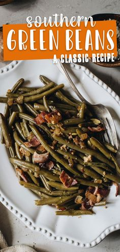 Rich comfort flavor of garlic, bacon, and onion surround this slow-cooked fall-apart-in-your-mouth Southern Green Beans. This delicious side is not only comforting in taste but a classic side to any southern meal. #SouthernGreenBeans #SouthernGreenBeansWithBacon #SouthernRecipes