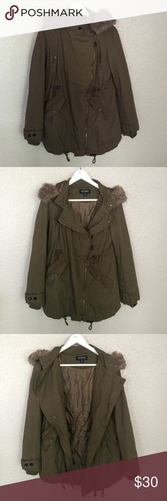 Hooded jacket Worn one time! Brown green color. Missing snap button on left chest pocket which is not noticeable when coat is unzipped. Otherwise in perfect condition. Detachable fur on hood and chest. Can be tighted above and or below waist. Elastic cloth wrists to keep in warmth. 5 pockets. 2 adjustable buttons at neck. Machine washable! CoffeeShop Jackets & Coats Utility Jackets
