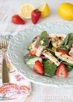 Spinach. Chicken and Strawberry Salad
