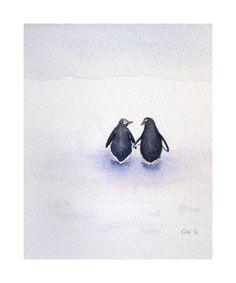 Peace, Love, and Penguins - SALE 15% OFF - coupon code 15percent - Signed Art Print - penguin watercolor home decor nursery art