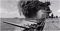 Navy aircraft carrier USS Yorktown after being hit by Japanese attacks during the Battle of Midway, June Naval History, Military History, Uss Yorktown, Navy Aircraft Carrier, Us Navy Ships, Submarines, Battleship, World War Two, Wwii