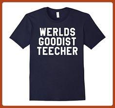 971818e8c Mens Werlds Goodist Teecher T-Shirt Funny Teacher Thank You Gift XL Navy -  Funny