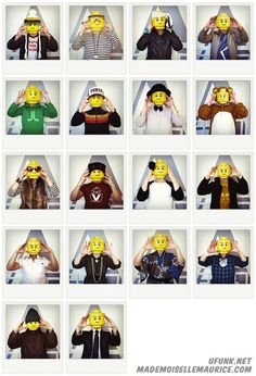 """LEGO portraits  Fabien Bouchard, creator of art & design blog Ufunk has teamed up with French artist Mademoiselle Maurice for a personal project titled 'Legolize it'.   In the self-portrait series, their faces are substituted for LEGO figure heads.   The images did not include any special effects or post-production montage and are displayed as Polaroids to evoke the nostalgic feel of both the photography form and LEGOs.   According to the duo, the project is """"a way to not forget our…"""