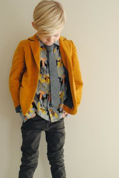 We love this mix of patter, texture and color. bold blazer and patterned shirt Young Boys Fashion, Little Boy Fashion, Toddler Fashion, Kids Fashion, Winter Kids, Stylish Kids, Kid Styles, Kids Wear, Look Fashion