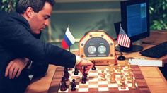 Gary Kasparov playing chess with IBM computer Deep Blue in 1997