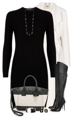"""Black and White"" by daiscat ❤ liked on Polyvore featuring Fendi, Polo Ralph Lauren, Kate Spade and Ippolita"