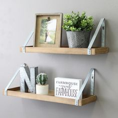 Stratton Home Decor Wood & Metal Wall Shelf Set . Home Decor stratton home decor Home Decor Sets, Easy Home Decor, Country Decor, Rustic Decor, Country Furniture, Room Ideias, L Shaped Shelves, Wood And Metal Shelves, Metal Shelving