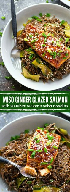 Miso ginger glazed salmon comes together in MINUTES and is heavenly served over a bowl of flavorful zucchini sesame soba noodles.
