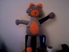 """""""Stitch"""" the cat,  i made from an old jacket that was to small for my son,,, Stitch now lives with my grandson..."""