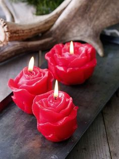 So pretty.... These fabulous rose candles burn for a long time!