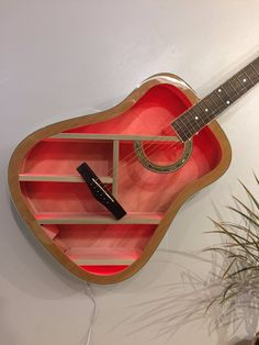 Guitar Shelf # 85.Recycled full size acoustic guitar with color changing LED and custom shelves. by aRRtstudios on Etsy https://www.etsy.com/au/listing/556136892/guitar-shelf-85recycled-full-size