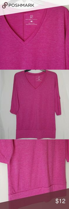 "NY&CO Shirt Like New, 3/4 length sleeves V-neck  , stitchline front middle  65%polyester 35%Rayon Armpit-Armpit is 20"" for oversized look Length 27"" Pair with skinny jeans for a fashion forward look Pop into the fall with hot pink and really stand out New York & Company Tops"