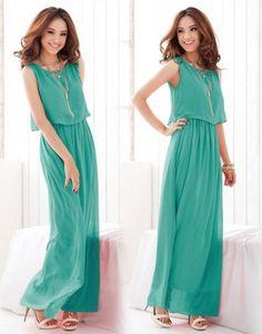Bohemia Pleated Wave Strap Chiffon Maxi Long Dress casual elegant Sundress - $32