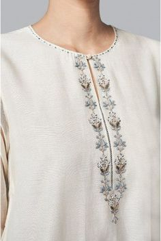 Shop from an exclusive range of luxurious wedding dresses & bridal wear by Anita Dongre. Bring home hand-embroidered wedding wear in colors inspired by nature. Embroidery On Kurtis, Hand Embroidery Dress, Kurti Embroidery Design, Embroidery On Clothes, Embroidered Clothes, Embroidery Fashion, Kurta Designs Women, Blouse Designs, Kurta Patterns