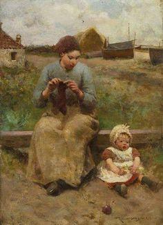 """""""La niña de sus ojos""""       . -                .  """" The apple of her eye""""       -      Robert McGregor (1848-1922)  Pintor británico"""