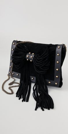 Valentino Bow Suede Clutch in Black Suede and Leather With Studded Detail and Fringed Bow .... Love!!!!
