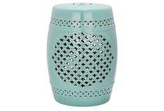 Demetria Ceramic Garden Stool, Aqua on OneKingsLane.com