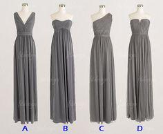 gray bridesmaid dress, long bridesmaid dress, chiffon bridesmaid dress, convertible bridesmaid dress, BD14058