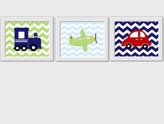 Little Boys Room Train Plane Car Baby by DezignerheartDesigns