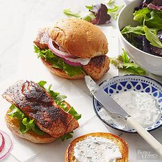 Coffee-Rubbed Salmon Sandwiches Espresso powder and dried ancho chili powder give these salmon sandwiches a spicy-sweet kick.