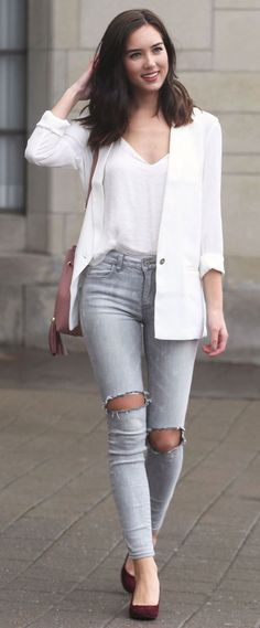 @roressclothes clothing ideas #women fashion, gray distressed jeans