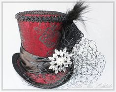 Burlesque Mini Hat Red Mini Hat Mini Top by LittleMissHattitude Steampunk Top Hat, Steampunk Wedding, Steampunk Fashion, Gothic Steampunk, Steampunk Necklace, Steampunk Clothing, Victorian Gothic, Gothic Lolita, Fancy Hats