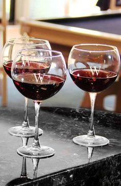 Monogrammed Red Wine Glasses