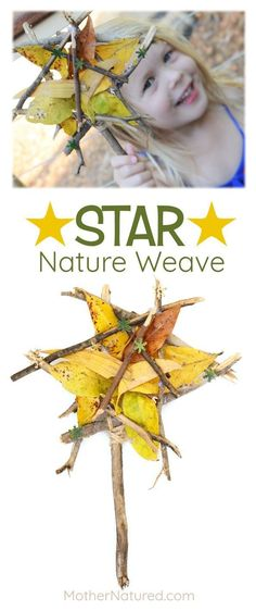 A star nature weave to get excited over Always carry some twine, just in case! Star Nature Craft for Kids Nature Activities, Outdoor Activities For Kids, Craft Activities, Outdoor Learning, Autumn Activities, Preschool Ideas, Land Art, Diy For Kids, Crafts For Kids