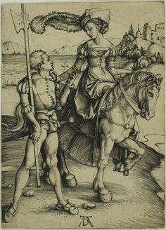 Albrecht Duerer, Lady on Horseback and Landsknecht. c. 1497.  Check out the shoe detail on him; VERY interesting and different style than the average cow mouth shoe.