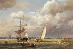 Hermanus Koekkoek - Deense koopvaarder op het IJ voor Amsterdam