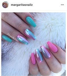 Pink and mint green coffin nails