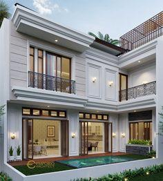 Classic House Exterior, Modern Exterior House Designs, Classic House Design, Dream House Exterior, Modern House Design, Home Design Floor Plans, Floor Design, Facade Design, Architecture Design